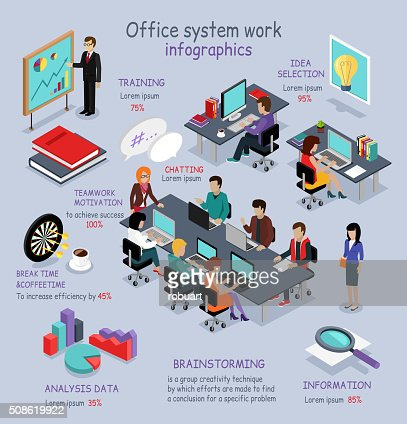 Isometric Office System Work Infographic : Vector Art