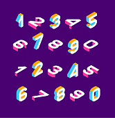 Isometric olored numbers 3d. Three-dimensional alphabet. Low poly 3d characters. Vector illustration