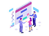 Isometric online business schedule, planning schedule, news, reminder, and events concept Vector illustration