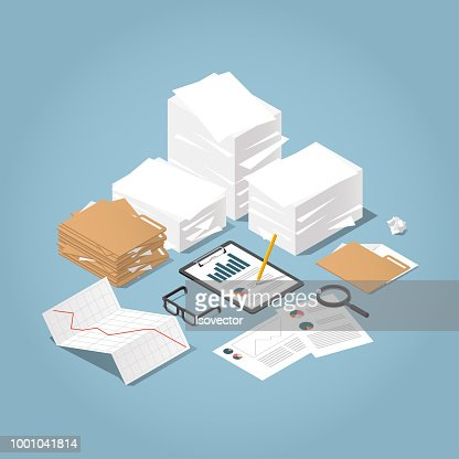 Isometric Paper Work illustration : stock vector