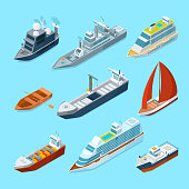 Isometric passenger sea ships and different boats in port. Marine illustrations. Ship and marine transport yacht and tanker vector