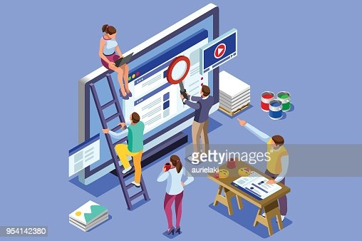 Isometric people images seo illustrations : stock vector