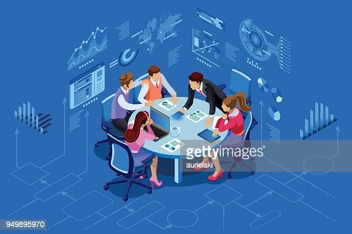 Isometric people team management concept : arte vetorial