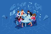 Isometric people team contemporary management concept. Can use for web banner, infographics, hero images. Flat isometric vector illustration isolated on blue background.Â