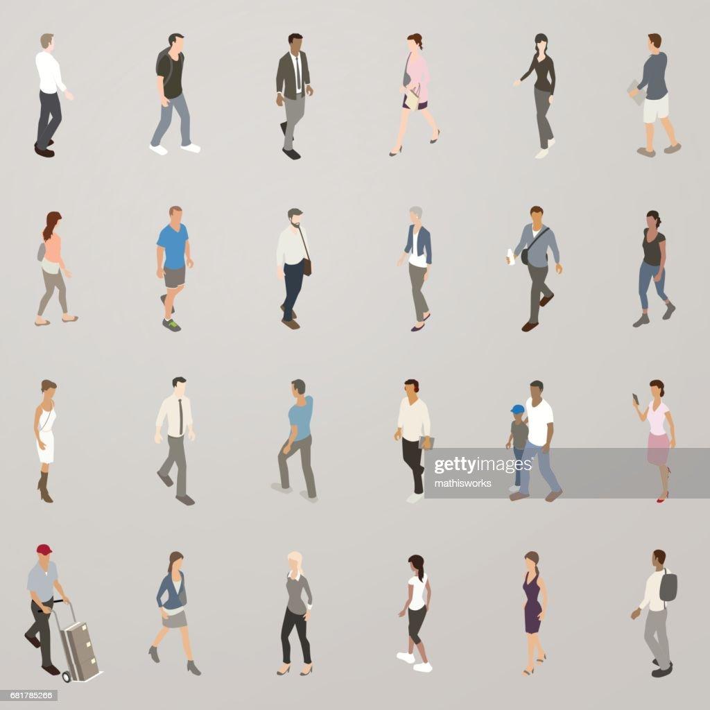 Isometric People Walking : Vector Art