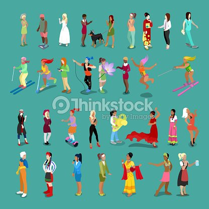 Isometric People Women Set. Female Characters in different Poses and Professions