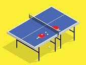 isometric Ping pong still life illustration table tennis