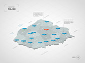 Isometric  3D Poland map. Stylized vector map illustration with cities, borders, capital, administrative divisions and pointer marks; gradient background with grid.