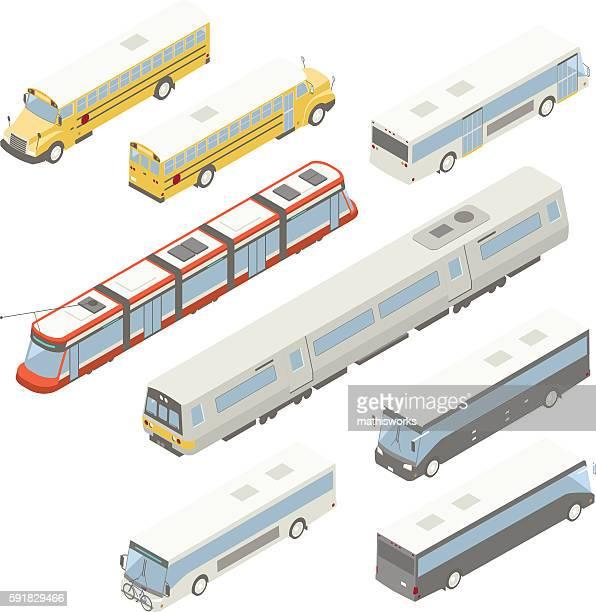 Isometric public transit illustration