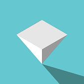 Isometric white inverted pyramid standing upside down on turquoise blue background. Balance, challenge, instability and finance concept. Flat design. Vector illustration, no transparency, no gradients