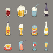 Isometric Retro Flat Alcohol Beer Juice Tea Wine Icons Drink and Symbols Set Vector Illustration