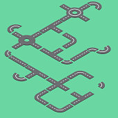 Isometric roads illustration on green background. Vector