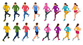 Isometric running people. Front and rear view. People are dressed in summer, winter, autumn, spring sports uniform. Healthy lifestyle and sports concepts. Vector illustration