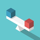 Isometric scales weighing blue and red cubes. Balance, comparison and equality concept. Flat design. EPS 8 vector illustration, no transparency