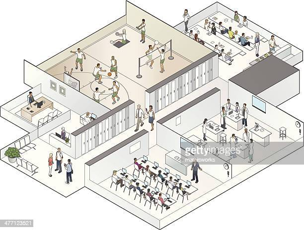 Isometric School Cutaway Illustration