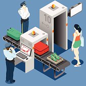 Isometric Security Checkpoint - Body and Luggage Scan Machine - Airport Check In
