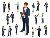 Isometric set of Businessman and businesswoman character design. People isometric business man in different poses isolated