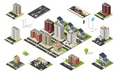Isometric set of city cityscape vector low poly elements