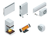Isometric set of electric radiator or electric heaters. Home climate equipment icons fireplace, oil heater with screen controls. Can be used for advertisement, infographics