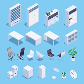 Isometric set of office furniture icons. 3d office desks, file storage, office chairs, clocks and plants. Vector illustration.