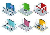 Isometric set of promotional stands or exhibition stands including display desks shelves and handout. Vector illustration