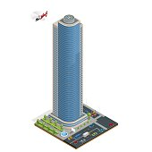 Isometric skyscraper with helipad on the roof composition with building and road isolated vector illustration Collection of urban elements architecture, home, road, intersection, traffic light, cars.