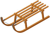 Isometric traditional wooden sled.