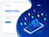 Isometric Smart home technology interface on smartphone app screen with augmented reality AR view of internet of things IOT connected objects in the apartment interior, person holding device.