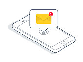Isometric smartphone with new email or sms message. Vector illustration