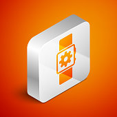 Isometric Smartwatch setting icon isolated on orange background. Smart watch settings. Silver square button. Vector Illustration