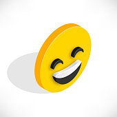 Isometric smile icon. Smiling 3d emoji with open mouth
