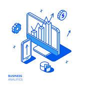 Isometric digital marketing line style design concept