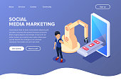 Isometric social media marketing concept. Automation of promotion in social networks. Like, comments and follower robot production line. Can use for web banner, infographics, hero images.
