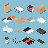 Isometric stationery vector set. Isometric mock up objects. Craft paper bag, tablet, craft box, CD, envelopes, business card, pad, pencil, document blank, label tag, coffee cup, glasses, smartphone.
