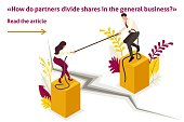 Isometric Template banner article conflict of partners and disagreements in business.
