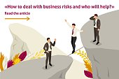Isometric Template banner article fear and overcoming risks in business.