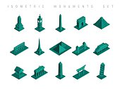 Set of flat isometric monuments of the world illustration. Ideal for travel brouchere, web and infographic design. EPS10 vector file.