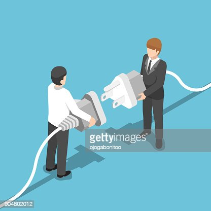 Isometric two businessmen connecting plug together. : stock vector