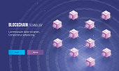 Isometric view of distributed ledger or blocks connected with each other for Blockchain technology concept based landing page design.