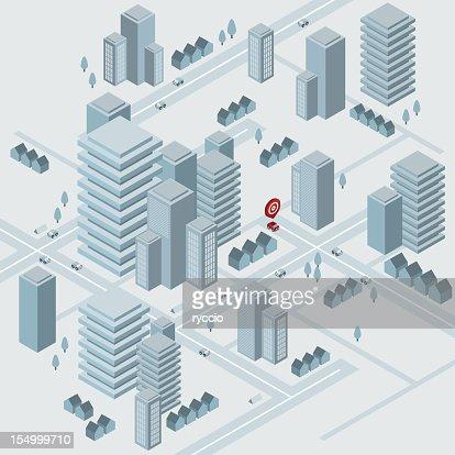 Isometric virtual city : Vector Art