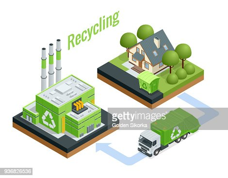 Isometric Waste Processing Plant. Technological process. Recycling and storage of waste for further disposal. : stock vector