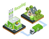 Isometric Waste Processing Plant. Technological process. Recycling and storage of waste for further disposal. Vector