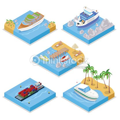Isometric Water Transportation Set with Cruise