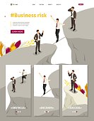 Isometric Website Template Landing page fear and overcoming risks in business.