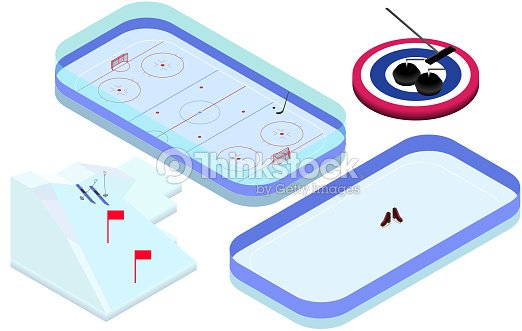 Isometric winter sports elements hockey, skating, ski, curling