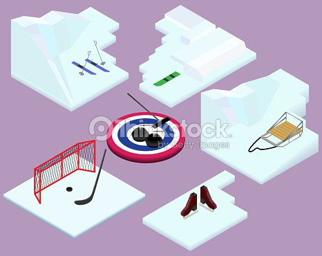 Isometric winter sports elements ski, snowboard, sled, hockey, curling