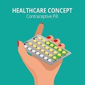 Woman holding blister pack of Strip of 28 Contraceptive Pill in his hands. Health care concept. Capsules in their hands. Take pills. Flat 3d isometric vector illustration