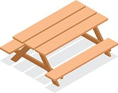 Isometric street wooden table with benches. 3d vector outdoor furniture icon