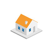House isometric vector icon on white background