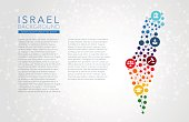 Israel dotted vector background conceptual infographic report